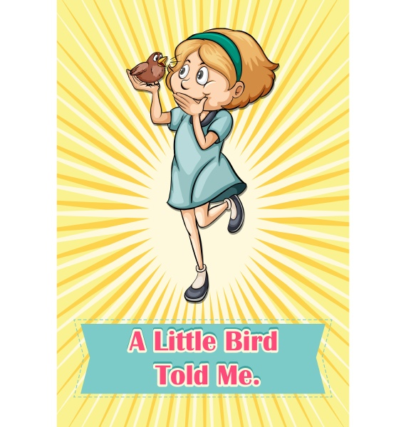 bird saying someting to a girl