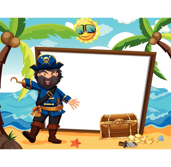 pirate captain and white banner