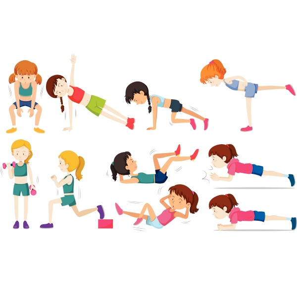 set of woman exercise