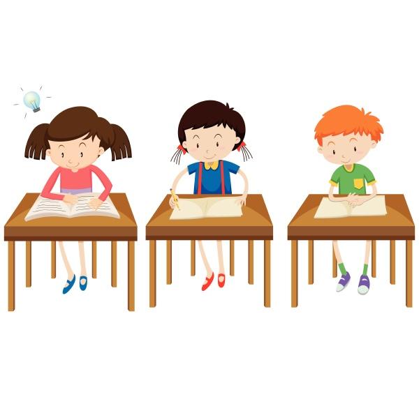 students studying on white background