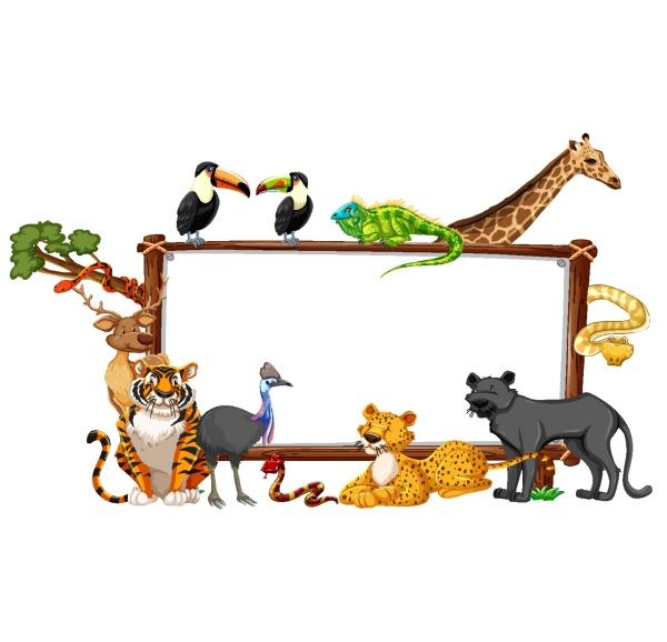 empty banner with wild animals on