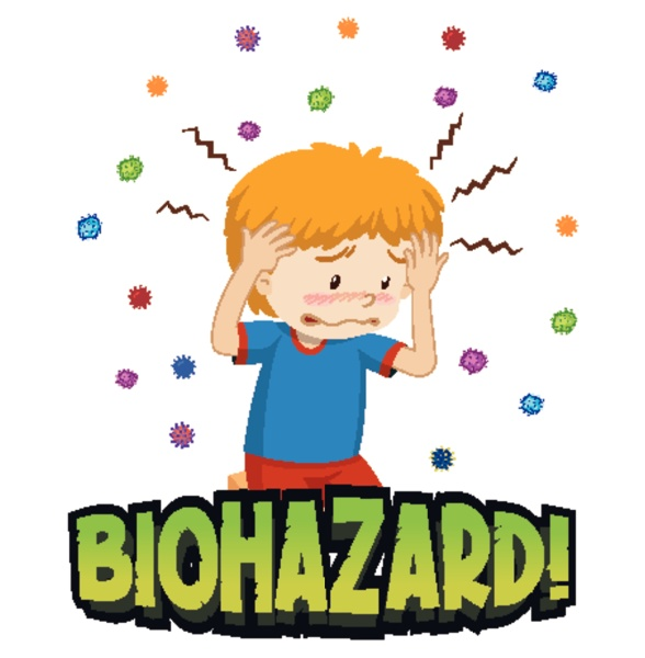 coronavirus theme with sick boy with