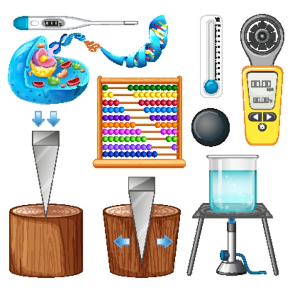 large set of science equipments on