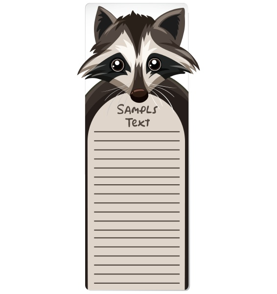 note template with raccoon
