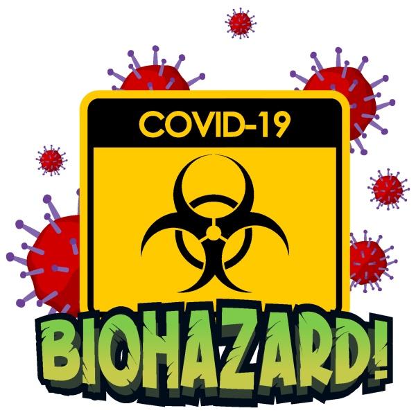 biohazard sign with coronavirus on white