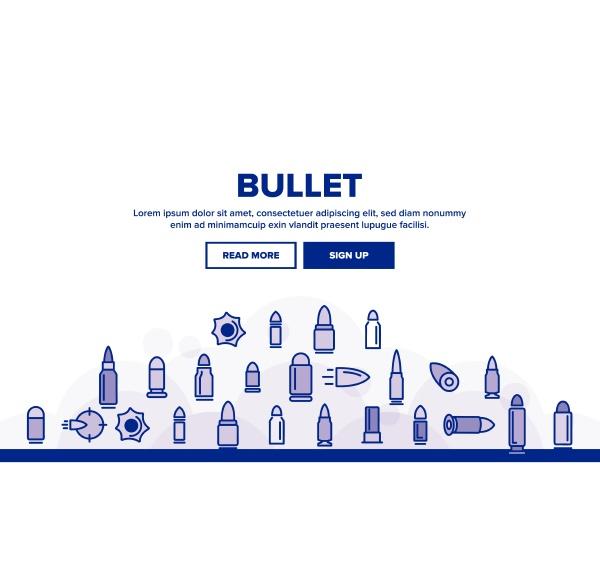 bullet ammunition landing header vector