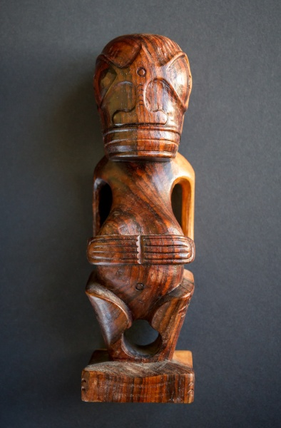 traditional wooden polynesian tiki from marquesas