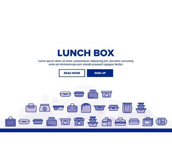 lunch box landing header vector