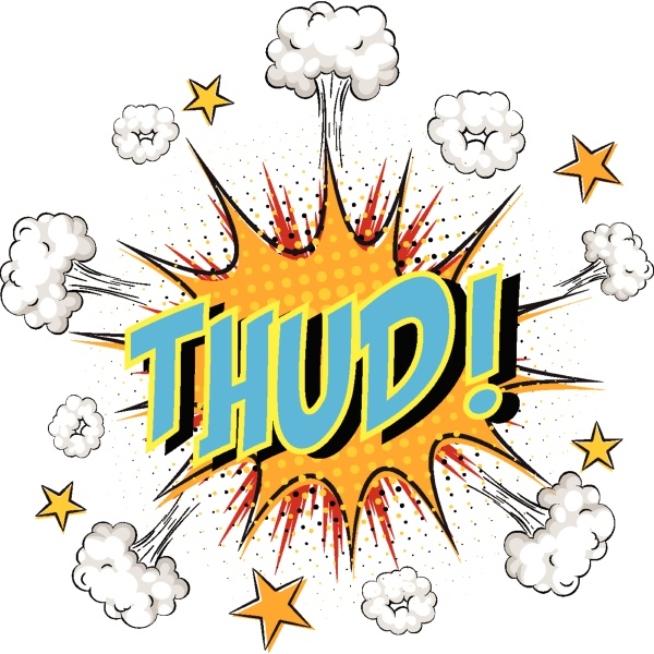 word thud on comic cloud explosion