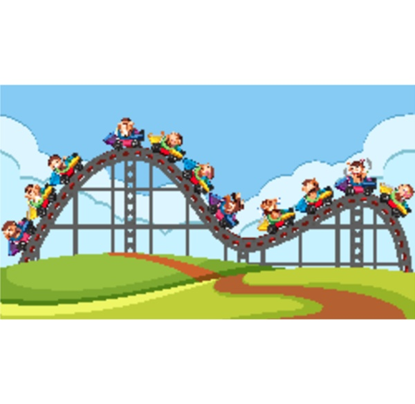 scene with roller coaster ride in