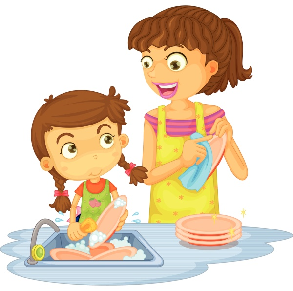 a girls washing plates
