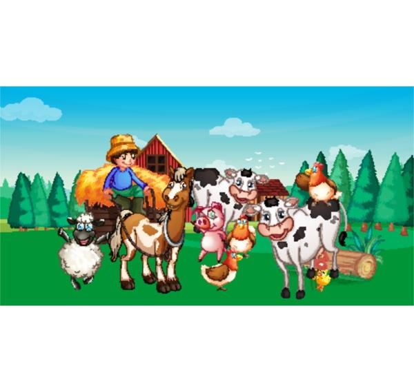 farm scene with animal farm cartoon