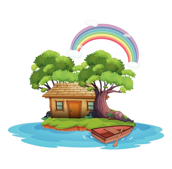 island with wooden cottage