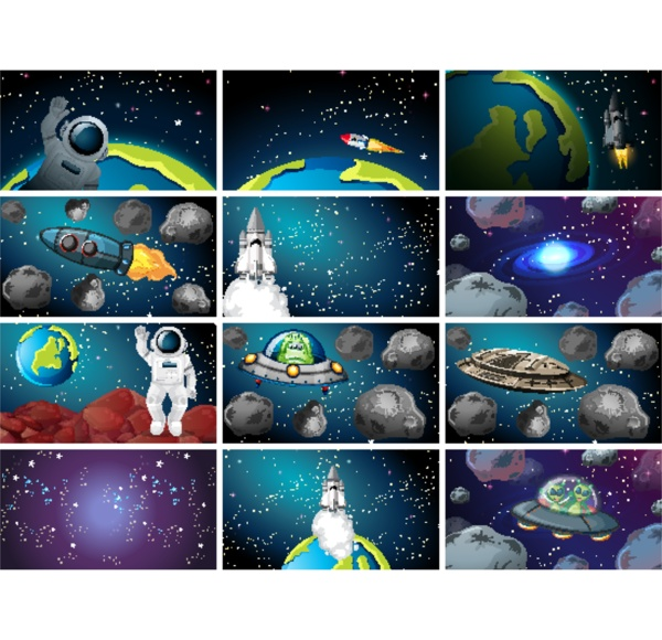 large set of universe scenes
