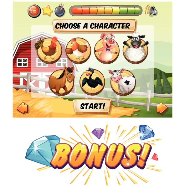 game template with farm animal characters