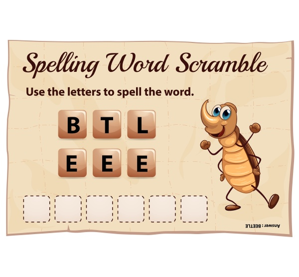 spelling word scramble game with word