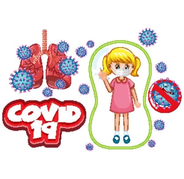 coronavirus poster design with sick girl