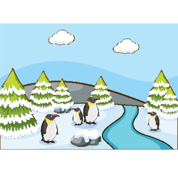 scene with penguins on snow mountain