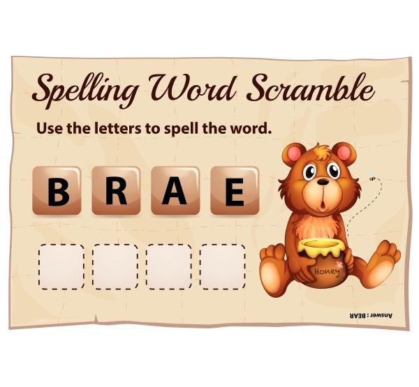 spelling word scramble for word bear