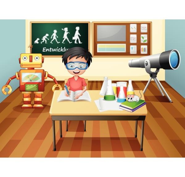 a boy inside a science laboratory