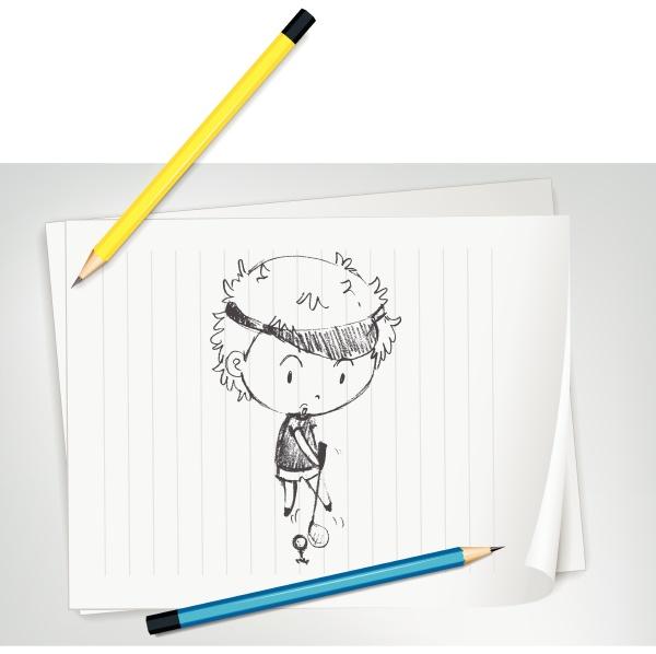 golfer sketched on paper