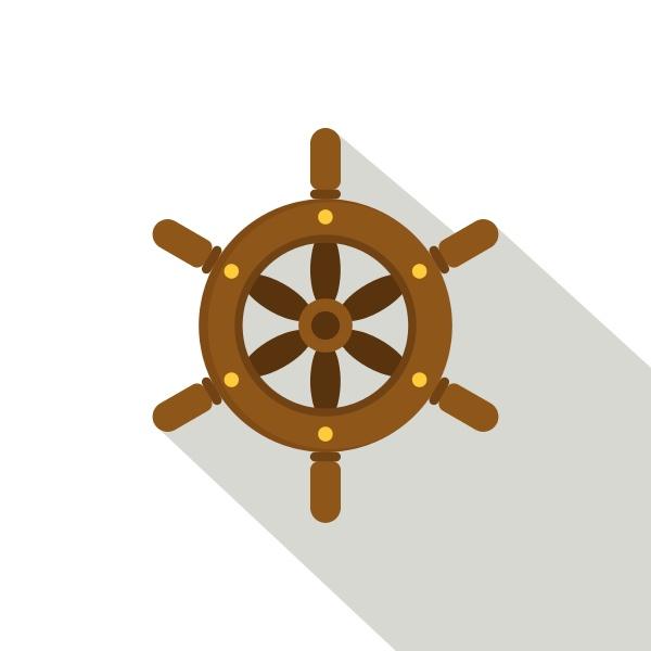 ship wheel icon flat style