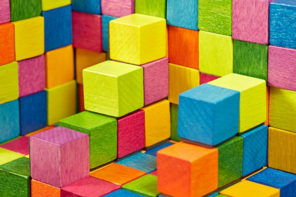 colorful wooden cube