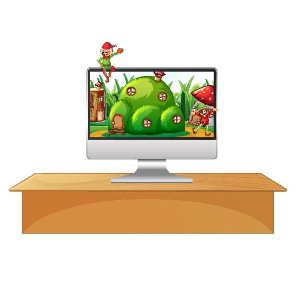 elf on computer desktop