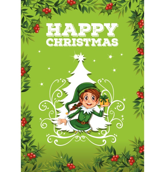 happy christmas theme with elf and