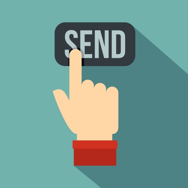 send button and hand icon flat