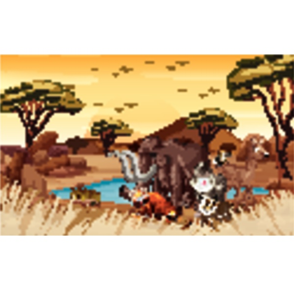 scene with wild animals in the
