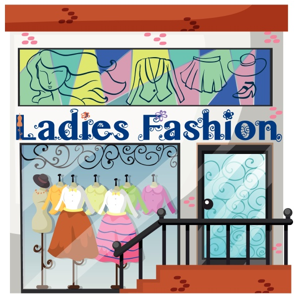 a lady fashion store on white