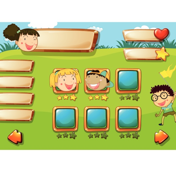 children face on game template