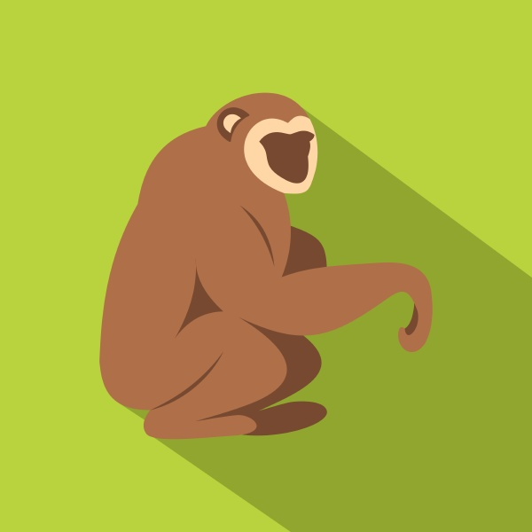sitting monkey icon flat style
