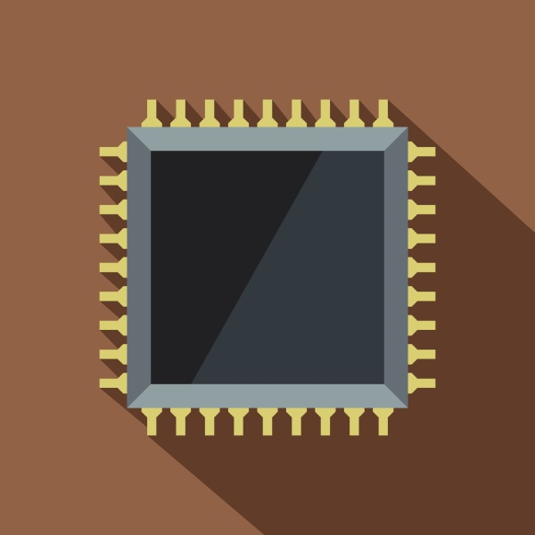 computer microchip icon flat style