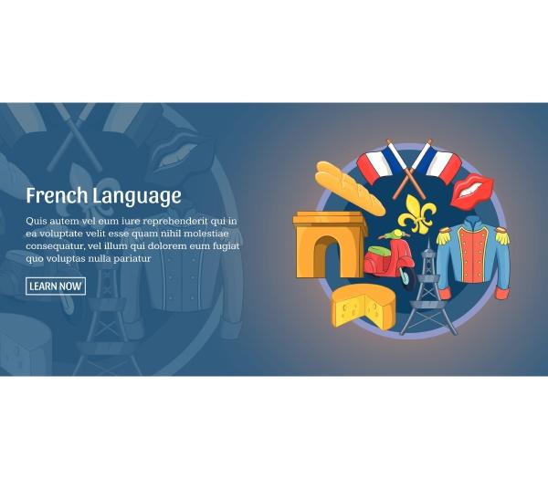 french language banner horizontal cartoon style