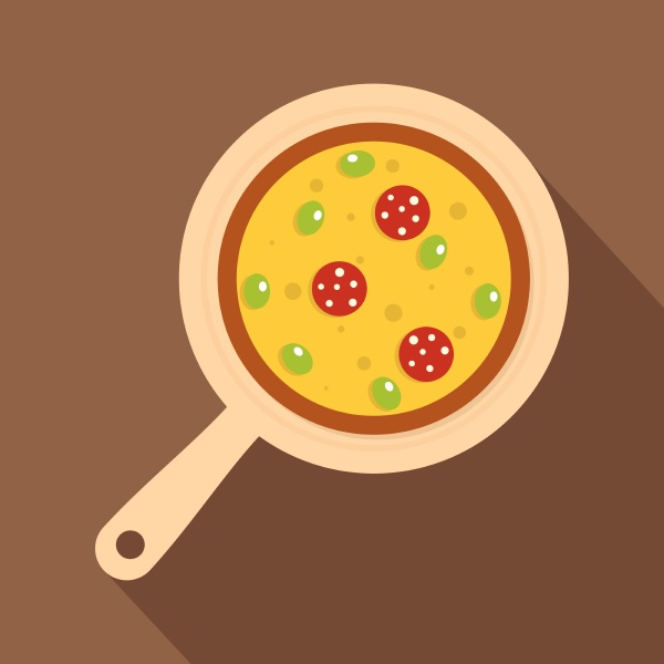 pizza on round board icon flat
