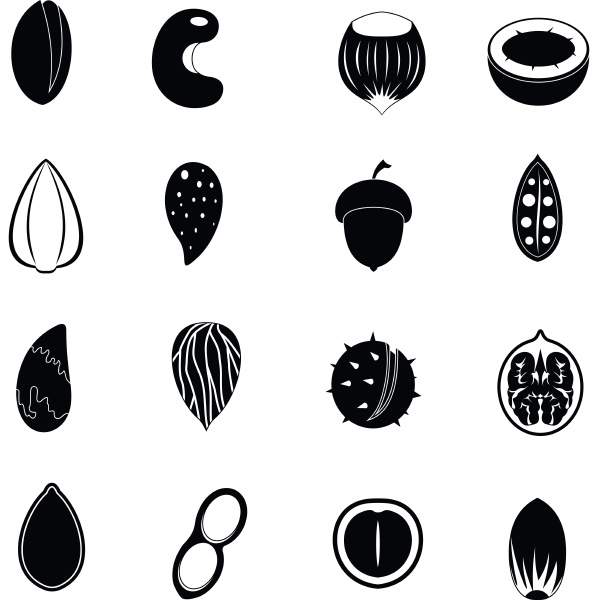 nuts icons set simple style