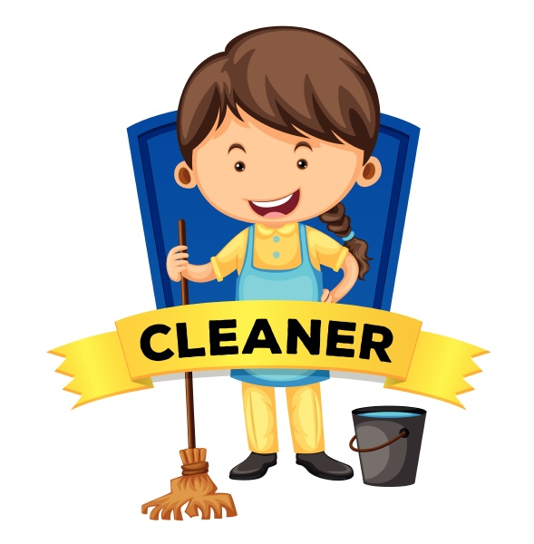 label design with female cleaner