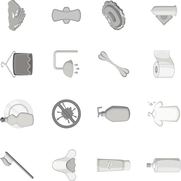 hygiene icons set monochrome