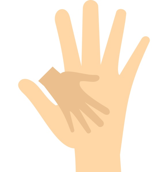 baby hand in mother hand icon