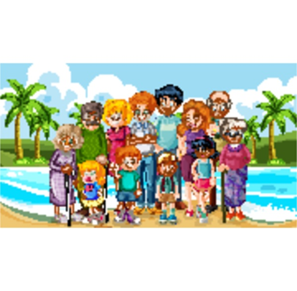 big family taking holiday