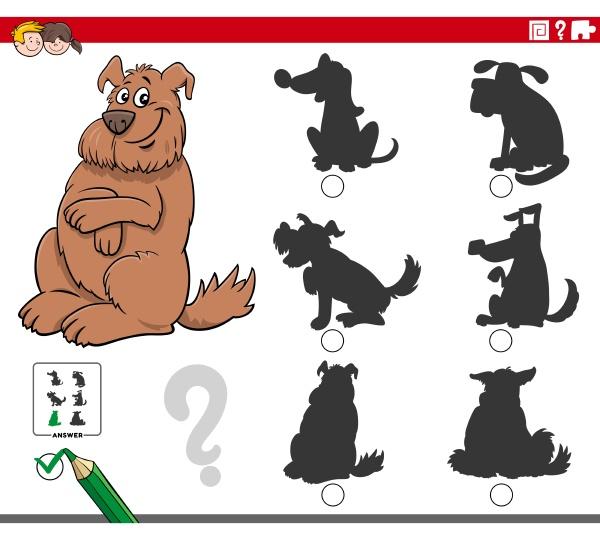 shadows game with cartoon fluffy dog