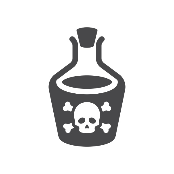 bottle of poison with skull and