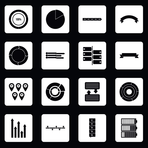 infographic design parts icons set squares