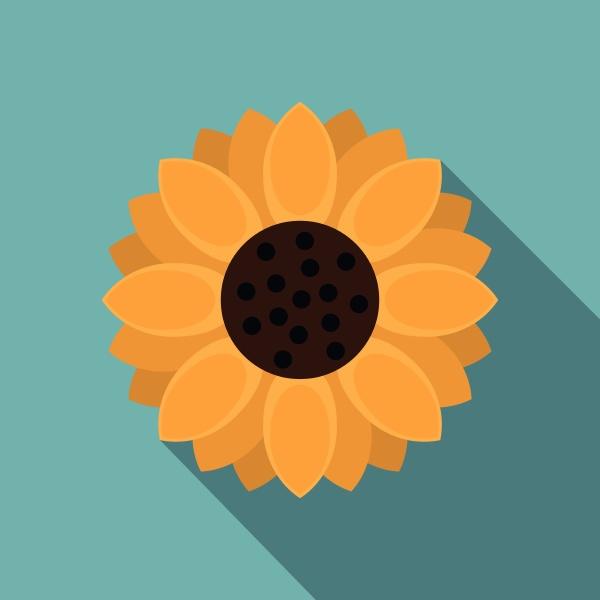 orange gerbera flower icon flat style