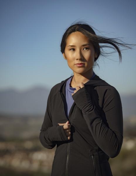 portrait of pensive woman in sports