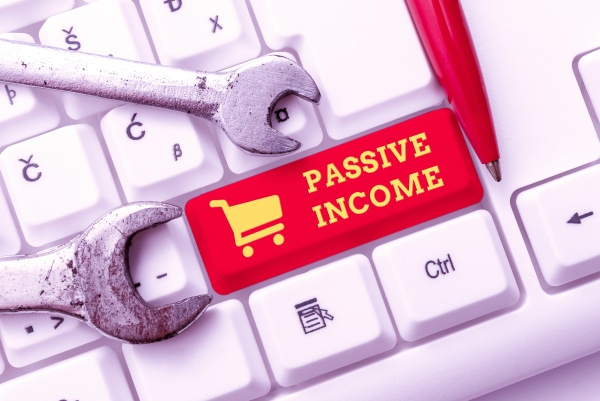 text sign showing passive income business