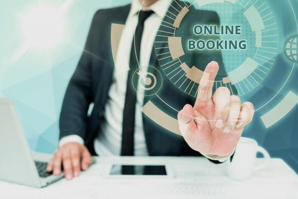 writing displaying text online booking conceptual