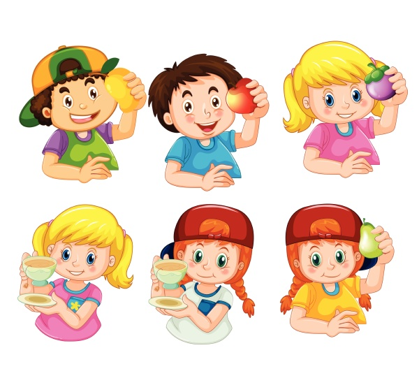 set of boy and girl character